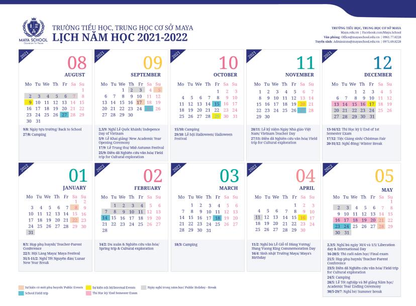 Lịch năm học 2021-2022